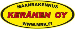 """Keltainen, mustilla reunuksilla varustettu vaakasuunnassa oleva soikio. Soikion keskellä teksti """"Maanrakennus Keränen Oy www.mrk.fi"""". Teksti on muuten mustalla, mutta keskellä olena Keränen Oy on isommalla fontilla ja punaisella."""