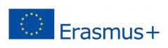 EU:n sininen lippulogo, jonka oikealla puolella lukee sinisellä Erasmus+