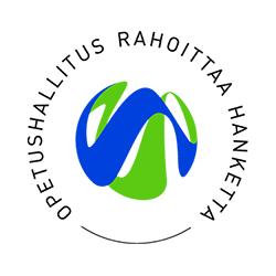 Keskellä Opetushallituksen vihreä-sininen logo ja ympärillä pyöreässä muodossa teksti Opetushallitus rahoittaa hanketta.
