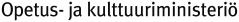 Valkoisella lukee Opetus- ja kulttuuriministeriö mustalla tekstillä.