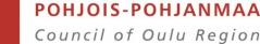 Punainen palkki, jonka oikealla lukee Pohjois-Pohjanmaa ja alla Council of Oulu Region