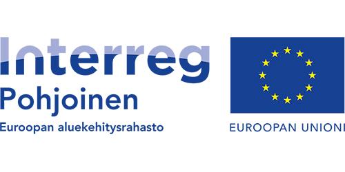 Kaksi logoa, joista toisessa teksti Interreg Pohjoinen ja Euroopan aluekehitysrahasto ja toinen EU:n sininen lippulogo jonka alla teksti Euroopan Unioni.