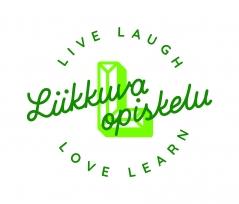 Vihreä, piirretty L-kirjain, jonka päällä lukee kaunokirjoituksella Liikkuva opiskelu. Ympärillä lukee live, laugh, love, learn.
