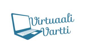 """Valkoisella pohjalla sinisellä piirretty kannettava tietokone, jonka oikealla puolella lukee kaunokirjoituksella """"Virtuaali Vartti"""""""