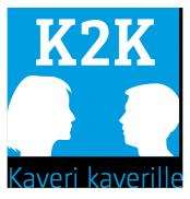 Sininen tausta, jossa ylhäällä valkoisella tekstillä K2K ja alapuolella piirretyt toisiaan katsovat naisen ja miehen siluetit.