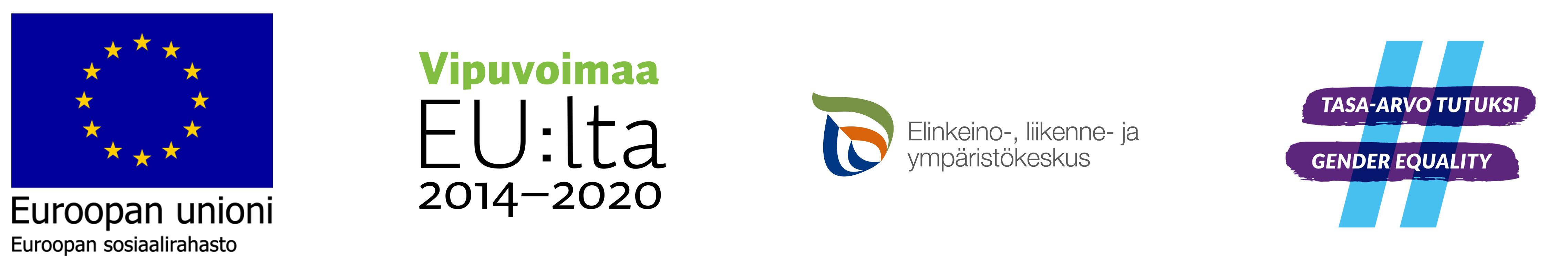 EU:n sininen lippulogo, jonka alla teksti Euroopan unioni ja Euroopan sosiaalirahasto. Logo, jossa teksti Vipuvoimaa EU:lta 2014-2020. Logo, jossa pisaran muotoisessa asetelmassa sinisiä, vihreitä ja punaisia kaarevia viivoja ja vieressä teksti Elinkeino-, liikenne- ja ympäristökeskus. Logo, jossa kaksi violettia vaakasuoraa viivaa ja kaksi vaaleansinistä oikealle nojaavaa pystyviivaa muodostavat hashtag-merkin. Vaakasuorissa viivoissa lukee tekstit Tasa-arvo tutuksi ja Gender equality.