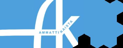 Sininen pohja, jossa valkoisella kirjaimet A ja K, jotka yhdistyvät keskeltä yhteen. K-kirjaimen sakarassa testi Ammattikaista.