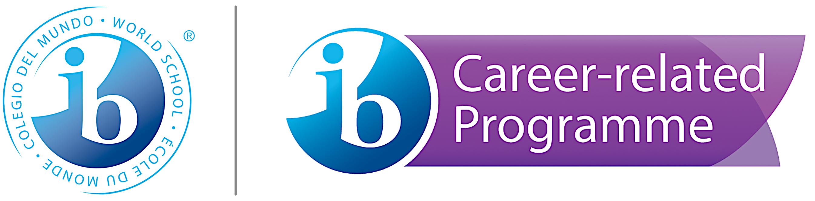 Kaksi logoa. Ensimmäisessä sinivalkoisella pohjalla kirjamet i ja b, toisesa sama pyöreä sinivalkoinen merkki IB-kirjaimilla ja teksti Career-related programme.