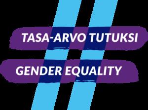 Logo, jossa kaksi violettia vaakasuoraa viivaa ja kaksi vaaleansinistä oikealle nojaavaa pystyviivaa muodostavat hashtag-merkin. Vaakasuorissa viivoissa lukee tekstit Tasa-arvo tutuksi ja Gender equality.