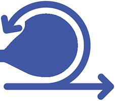 Sinisillä viivoilla piirretty keskelle pyöreä kellotauu, jonka alapuolelta lähtee viiva, joka haarautuu kahtia. Toinen viivan haaroista kiertää kellotaulun ympäri. Viivojen päissä on nuolet.