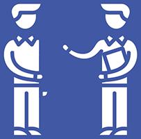 Kaksi sinisillä viivoilla piirrettyä hahmoa, joilla rusetit kaulassa. Oikeanpuoleisen hahmon kainalossa on suorakaiteen muotoinen, paperilta näyttävä esine. Hahmo ojentaa toista kättään toista hahmoa kohti.