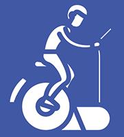 Sinisillä viivoilla piirretty hahmo, joka polkee kuntopyörää. Hahmolla on pyöräilykypärä päässä.