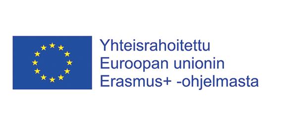 Sininen EU:n tähtilippu, jossa sinisellä pohjalla ympyrän muodossa keltaisia tähtiä. Vieressä sininen teksti, jossa lukee Yhteisrahoitettu Euroopan unionin Erasmus+ -ohjelmasta.
