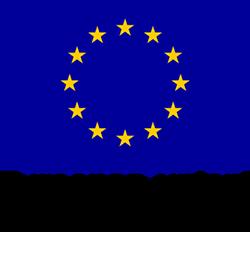 EU-lippulogo, jossa on sinisellä pohjalla ympyrän muodossa 12 keltaista tähteä. Lipun alla teksti Euroopan unioni ja sen alapuolella teksti Euroopan aluekehitysrahasto.