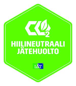Vihreä kuusikulmio, jonka keskellä tyylitellysti esitetyt merkit CO2. O-kirjaimen sisältä nousee puunlehti. Merkinnän alla teksti Hiilineutraali jätehuolto ja tekstin alla L&T-jäteyrityksen logo.