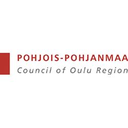 Punainen pystysuunnassa oleva suorakaiteen muotoinen palkki, jonka vieressä punaisella teksti Pohjois-Pohjanmaa. Tämän tekstin alla tumman harmaalla teksti Council of Oulu Region.