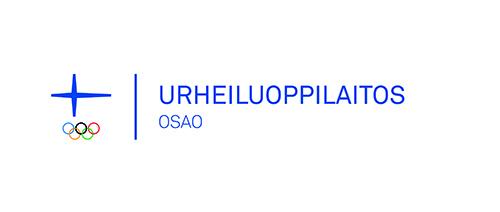 Logo, jossa vasemmalla Suomen siniristilippu ja sen alla olympialaisten viisi värillistä rengasta. Tämän olympiakomitean tunnuksen oikealla puolella on pystyviiva, jonka vieressä teksti Urheiluoppilaitos ja sen alapuolella OSAO.