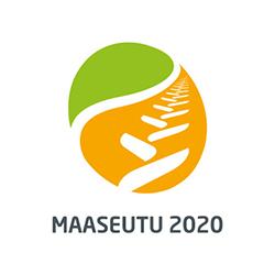 Soikean muotoinen kappale, jossa ylhäällä vihreä alua, joka peittää noin 1/3 soikiosta. Alaosa oranssin värinen alue, jonka poikki menee valkoisia viivoja, jotka muodostavat traktorin renkaan jälkeä tai viljan tähkää muistuttavan kuvion. Alla teksti maaseutu 2020.