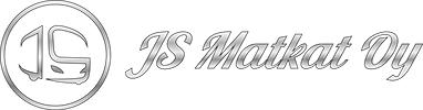 Hopeanvärisellä reunuksilla varustettu ympyrä, jonka keskellä samalla hopealla koristeelliset kirjaimet JS. Ympyrän vieressä koristeellinen hopeanharmaa teksti JS Matkat Oy.