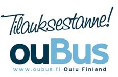 Ylhäällä tummansininen kaunokirjoituksella kirjoitettu hieman viisto teksti Tilauksestanne! Sen alla teksti OuBus. Näistä kirjaimet Ou on tummansinisellä ja BUS vaaleansinisellä. Alimmaisena teksti www.oubus.fi Oulu Finland.