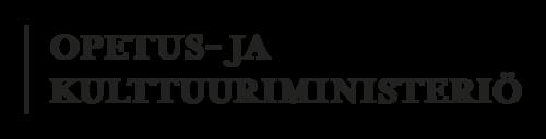 Musta pystyviiva, jonka oikealla puolella teksti Opetus- ja kulttuuriministeriö