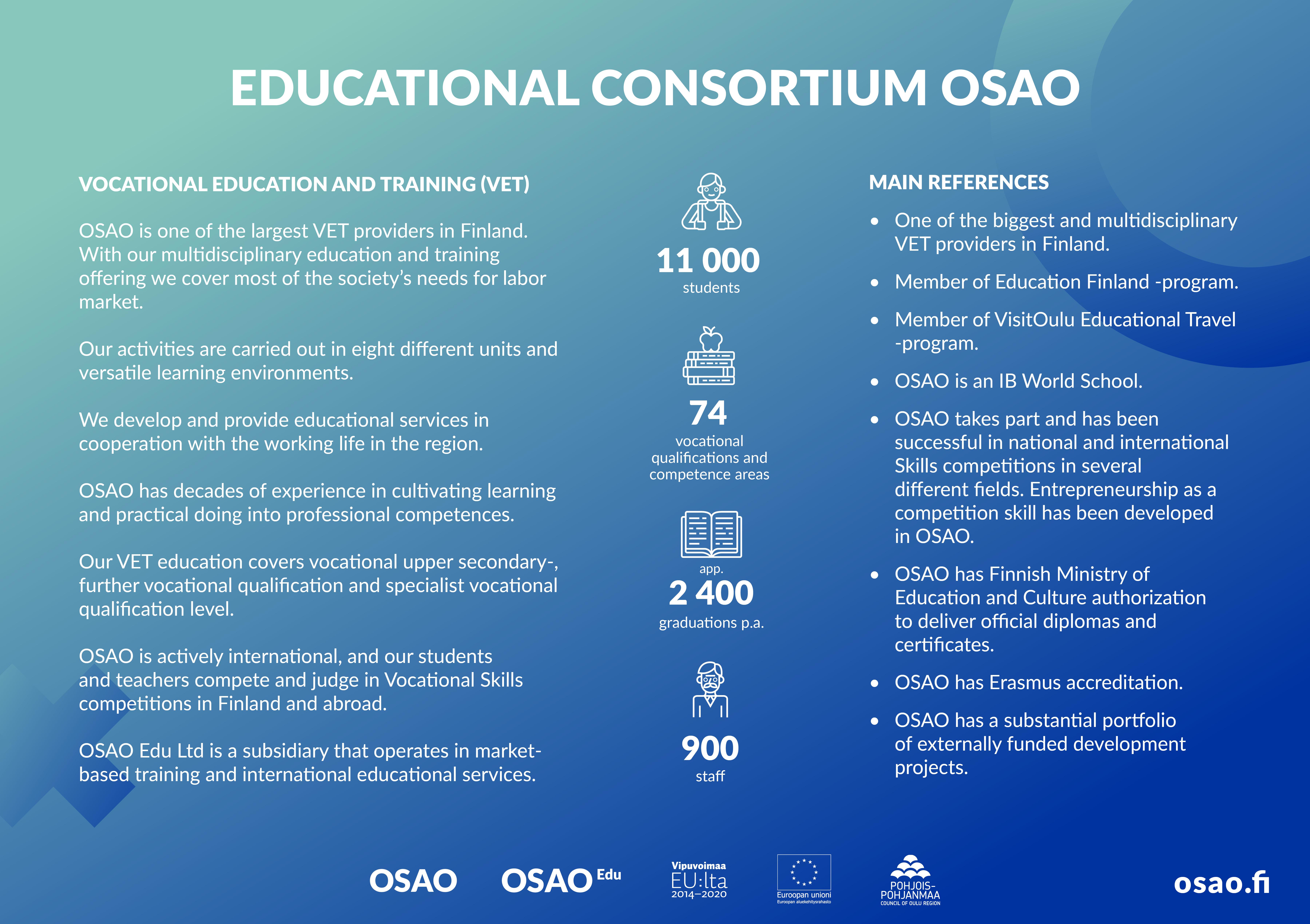 Liukuvärjätyllä sinivihreällä pohjalla englanninkielinen esittelyteksti OSAOsta